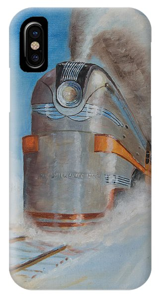 Train iPhone Case - 104 Mph In The Snow by Christopher Jenkins