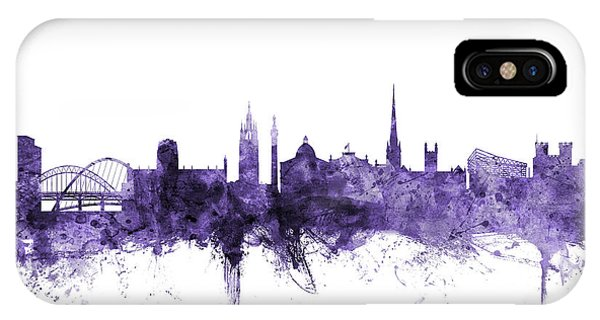 Violet iPhone Case - Newcastle England Skyline by Michael Tompsett