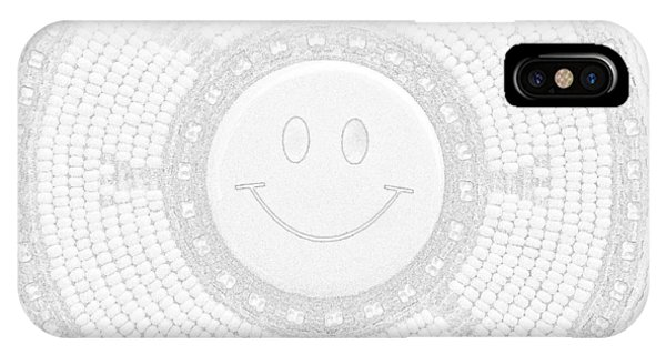 IPhone Case featuring the mixed media 110-happy Face 0115 Wampum White by Douglas K Limon