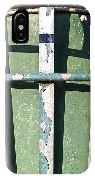 Rubbish Bin iPhone Case - Green Metal by Tom Gowanlock