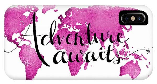 Travel iPhone Case - 12x16 Adventure Awaits Pink Map by Michelle Eshleman