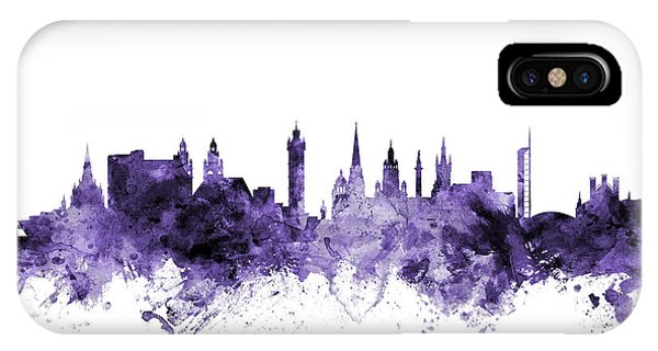 Violet iPhone Case - Glasgow Scotland Skyline by Michael Tompsett