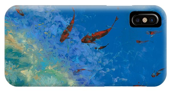 Koi iPhone Case - 13 Pesciolini Rossi by Guido Borelli