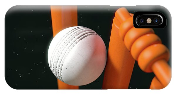 Cricket Ball Hitting Wickets IPhone Case