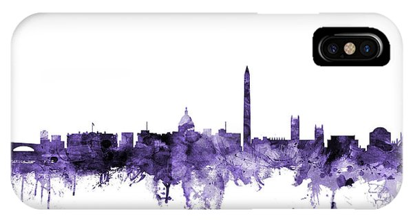 Violet iPhone Case - Washington Dc Skyline by Michael Tompsett
