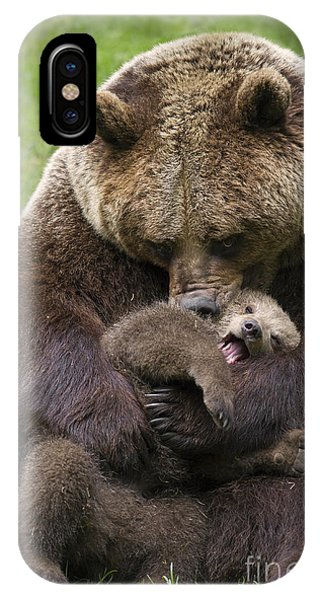 Mother Bear Cuddling Cub IPhone Case