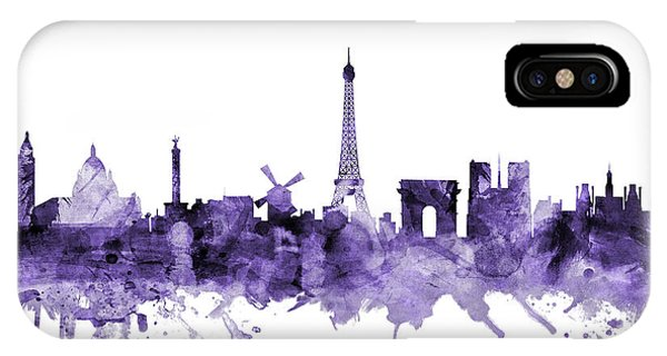 Violet iPhone Case - Paris France Skyline by Michael Tompsett