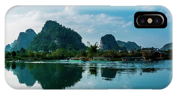 IPhone Case featuring the photograph The Karst Mountains And River Scenery by Carl Ning