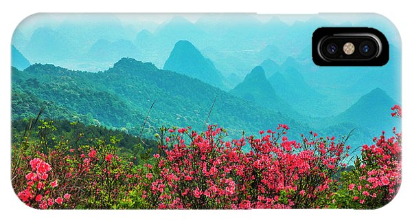IPhone Case featuring the photograph  Blossoming Azalea And Mountain Scenery by Carl Ning