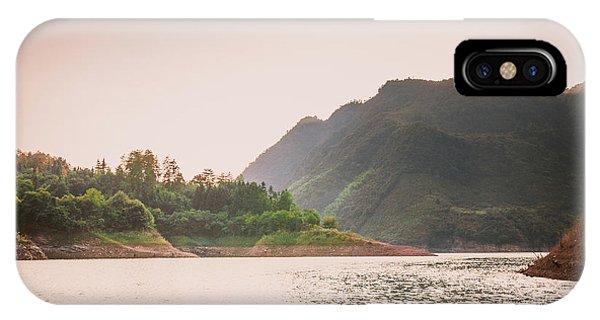 IPhone Case featuring the photograph The Mountains And Lake Scenery In Sunset by Carl Ning
