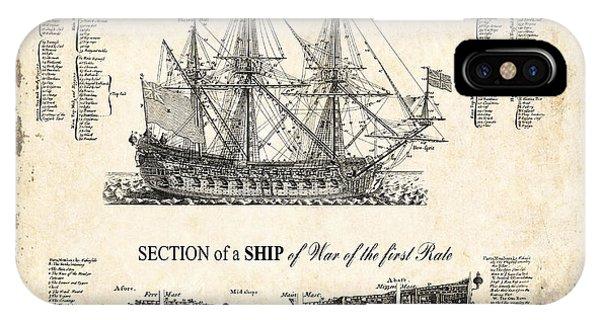 Schooner iPhone Case - 1728 Illustrated British War Ship by Daniel Hagerman