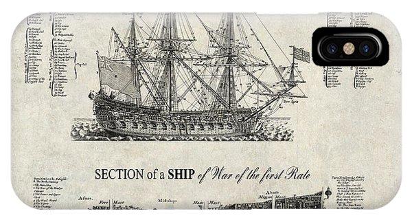 Schooner iPhone Case - 1728 Ship Of War Illustration by Daniel Hagerman