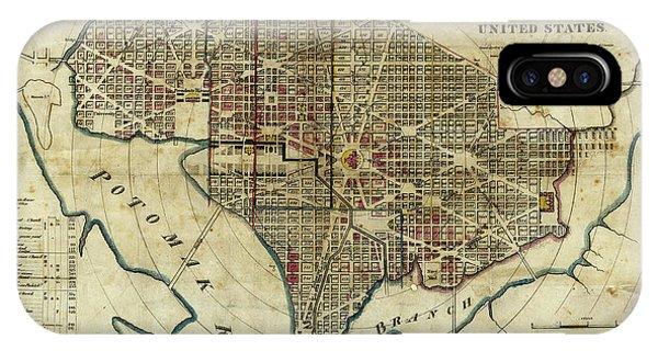 Smithsonian iPhone Case - 1822 Map Of Washington Dc by Jon Neidert