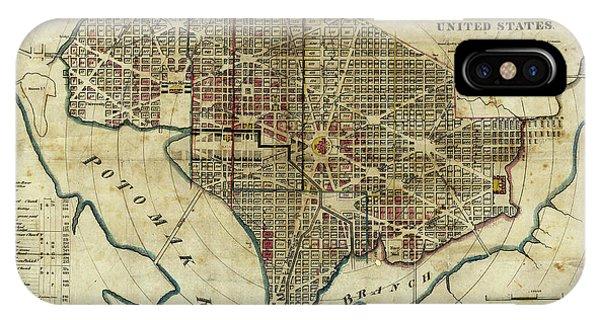 Lincoln Memorial iPhone Case - 1822 Map Of Washington Dc by Jon Neidert