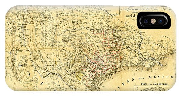 iPhone Case - 1849 Texas Map by Bill Cannon