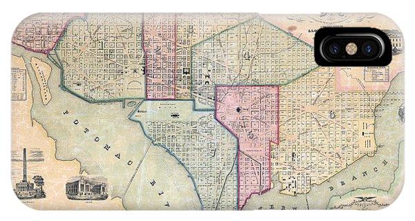 Smithsonian iPhone Case - 1851 Washington Dc Map by Jon Neidert