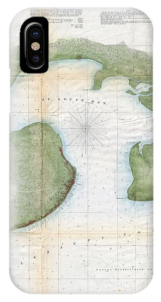 iPhone Case - 1857  Coast Survey Map Of St. Louis Bay And Shieldsboro Harbor, Mississippi  by Paul Fearn