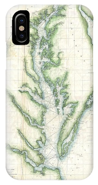 iPhone Case - 1859 U.s. Coast Survey Chart Or Map Of The Chesapeake Bay by Paul Fearn