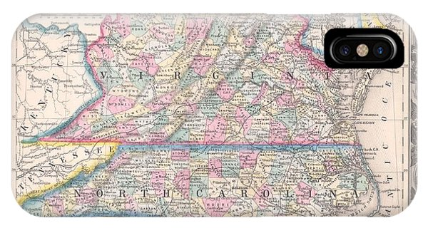iPhone Case - 1860 Mitchell Map Of Virginia  And North Carolina by Paul Fearn
