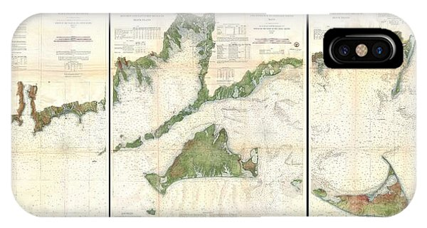 iPhone Case - 1860 U.s. Coast Survey Map Of Block Island, Buzzard Bay, Nantucket And Marthas Vineyard  by Paul Fearn