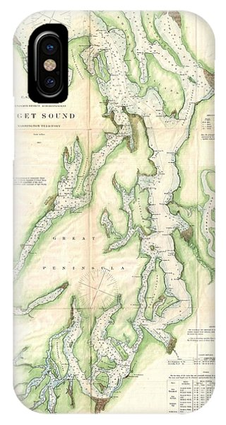iPhone Case - 1867 U.s. Coast Survey Chart Or Map Of Puget Sound, Washington by Paul Fearn