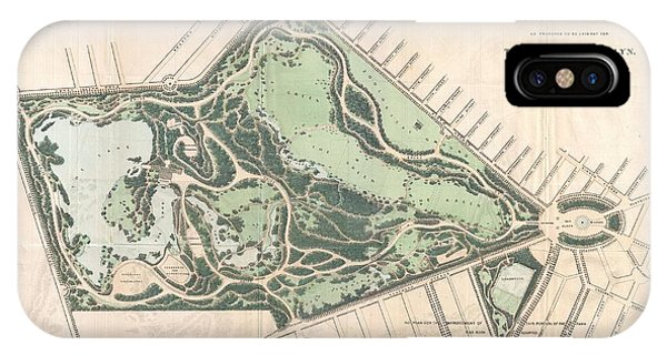 iPhone Case - 1868 Vaux And Olmstead Map Of Prospect Park Brooklyn New York by Paul Fearn