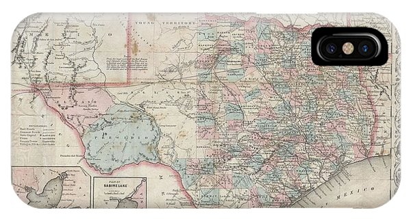 iPhone Case - 1870 Colton Pocket Map Of Texas by Paul Fearn