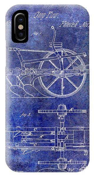Farm Tool iPhone Case - 1870 Plow Patent Blue by Jon Neidert