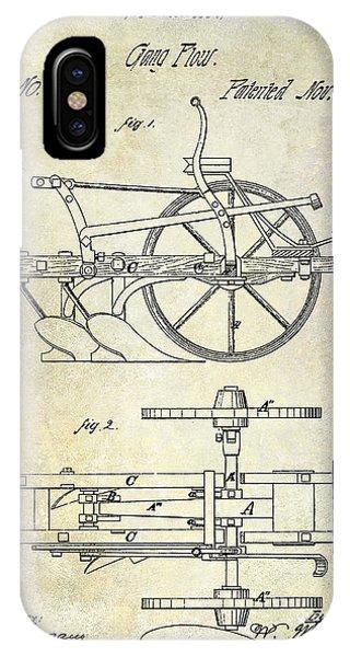 Farm Tool iPhone Case - 1870 Plow Patent by Jon Neidert
