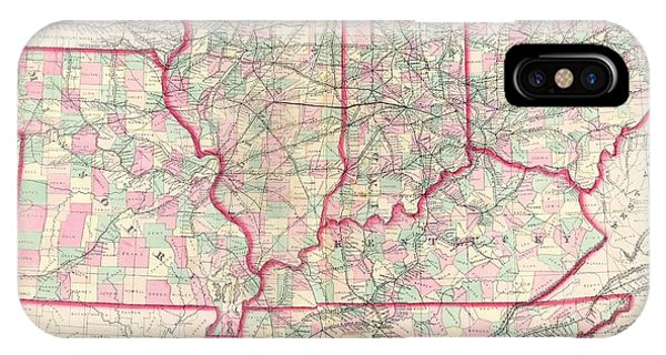 iPhone Case - 1873 Asher Adams Map Of The Midwest  Ohio Indiana Illinois Missouri Kentucky  by Paul Fearn