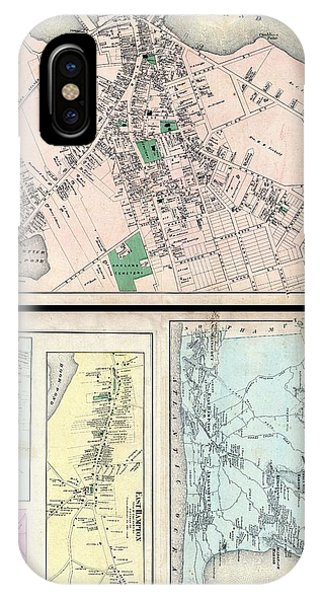 iPhone Case - 1873 Beers Map Of East Hampton And Sag Harbor Long Island New York by Paul Fearn
