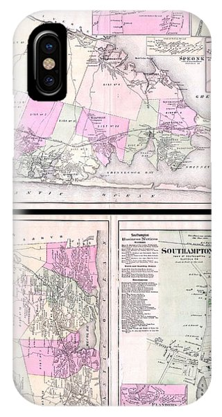iPhone Case - 1873 Beers Map Of Southold  Shelter Island Long Island New York  by Paul Fearn