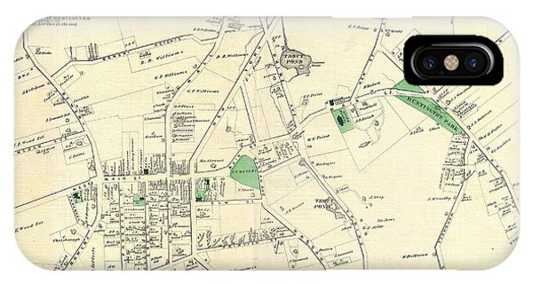 iPhone Case - 1873 Beers Map Of The Town Of Huntington, Long Island, New York by Paul Fearn