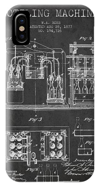 Brewery iPhone Case - 1877 Bottling Machine Patent - Charcoal by Aged Pixel