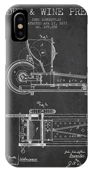 1877 Cider And Wine Press Patent - Charcoal IPhone Case