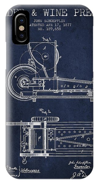1877 Cider And Wine Press Patent - Navy Blue IPhone Case
