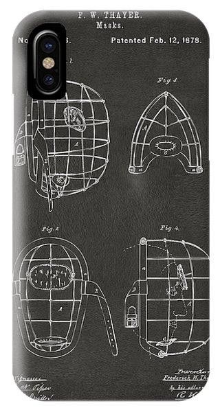 1878 Baseball Catchers Mask Patent - Gray IPhone Case