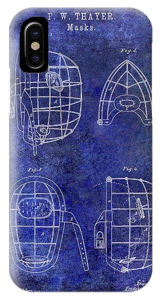 1878 Catchers Mask Patent Blue IPhone Case