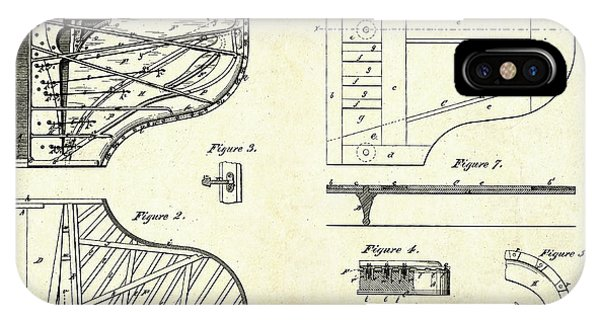 1880 Steinway Piano Forte Patent Art Sheets V2 IPhone Case