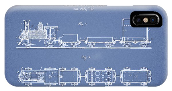 1881 Toy Locomotive Patent - Light Blue IPhone Case