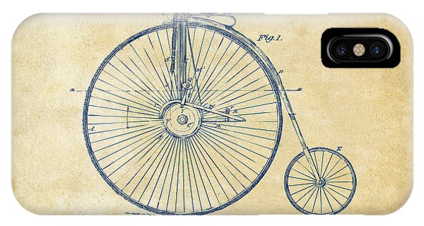1881 Velocipede Bicycle Patent Artwork - Vintage IPhone Case