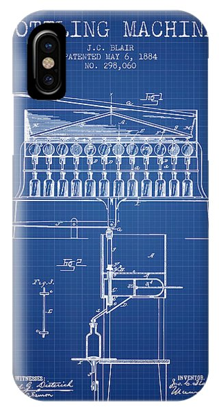Brewery iPhone Case - 1884 Bottling Machine Patent - Blueprint by Aged Pixel
