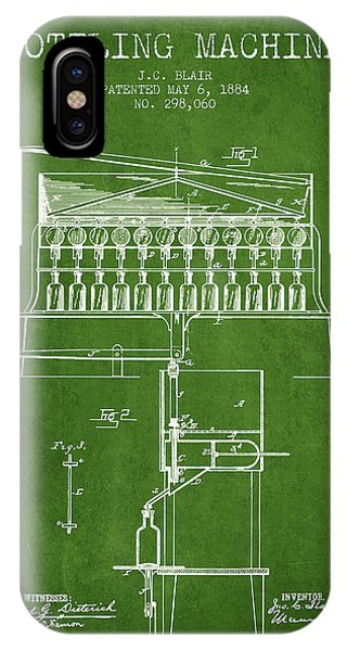 Brewery iPhone Case - 1884 Bottling Machine Patent - Green by Aged Pixel