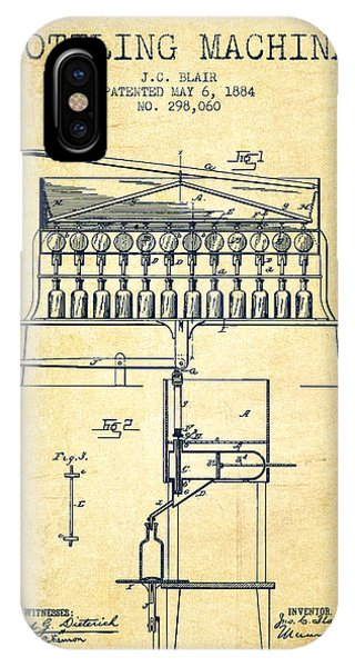 Brewery iPhone Case - 1884 Bottling Machine Patent - Vintage by Aged Pixel