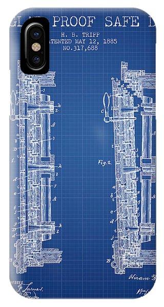 1885 Bank Safe Door Patent - Blueprint IPhone Case