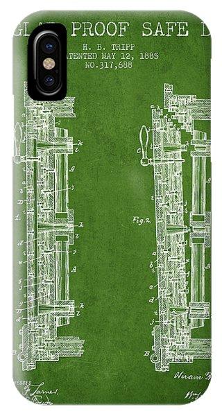 1885 Bank Safe Door Patent - Green IPhone Case