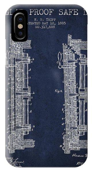 1885 Bank Safe Door Patent - Navy Blue IPhone Case