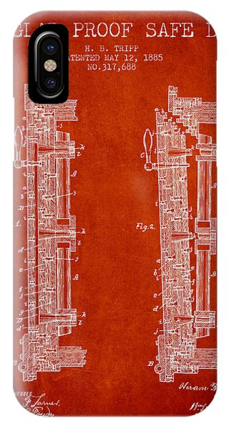 1885 Bank Safe Door Patent - Red IPhone Case