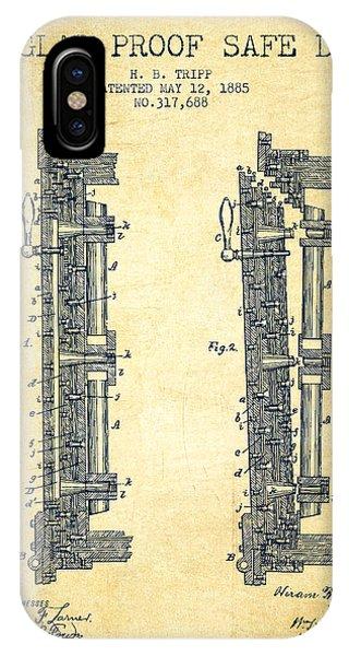 1885 Bank Safe Door Patent - Vintage IPhone Case