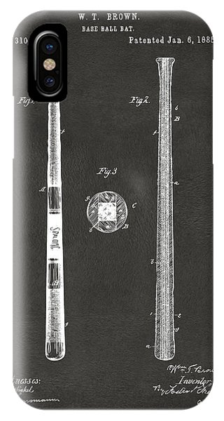 Patent Office iPhone Case - 1885 Baseball Bat Patent Artwork - Gray by Nikki Marie Smith